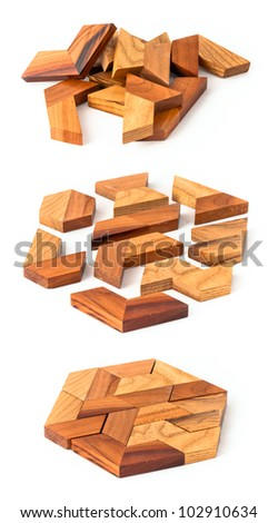 Wooden Geometric Puzzle Made Many Pieces Stock Photo