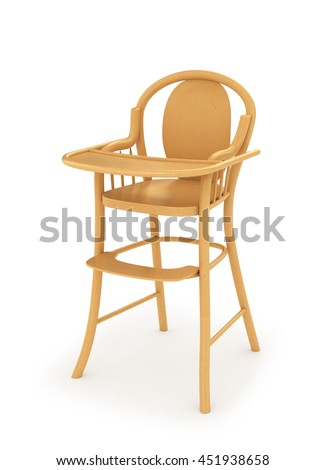 Wooden high chair for baby feeding isolated on white. 3d illustration