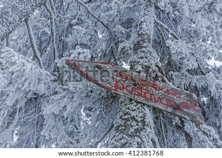 Wooden hiking direction sign on frozen snowy fir tree trunk showing the way to Postavaru chalet in Postavaru mountain during winter. - stock photo