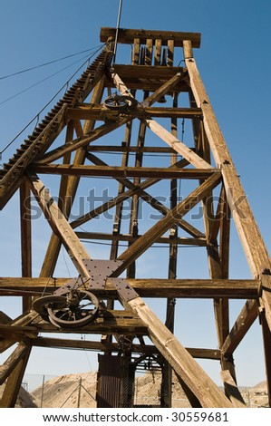 Wooden hoist tower from a silver mine, Tonopah, Nevada