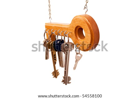 Wooden holder for keys on the wall