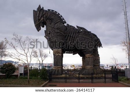 Wooden horse ion Chanakkale, Turkey - stock photo