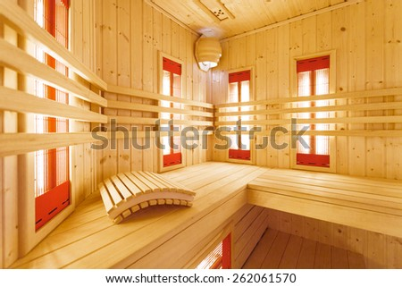 Wooden hot sauna at luxury residence - stock photo