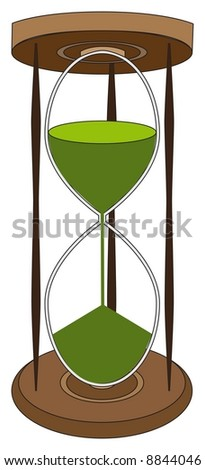 Wooden hour glass with green sand running through it