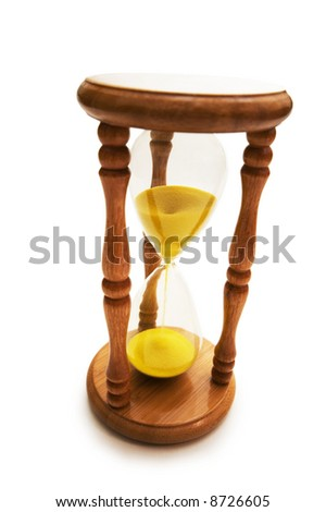Wooden hourglass isolated on the white background