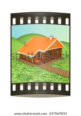 Wooden house against the background of fairytale landscape. The film strip - stock photo