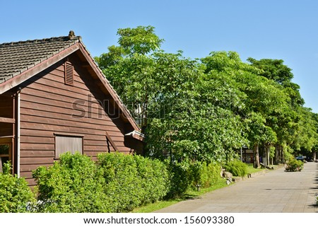 Wooden house and street, Taiwan, Asia - stock photo