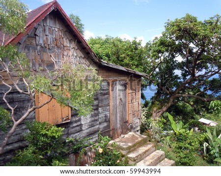 Wooden house and tree on the caribean island Dominica