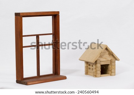 Wooden house and wooden box on a white background/ Wooden house and wooden box - stock photo