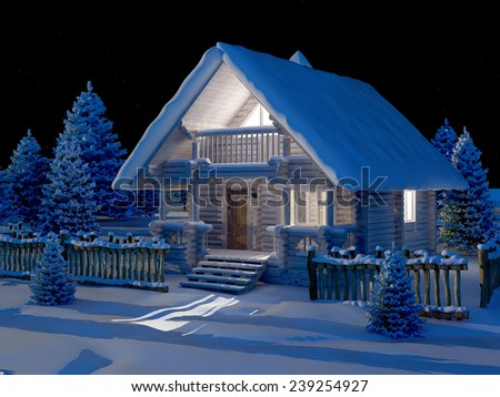 Wooden house at night under the snow.