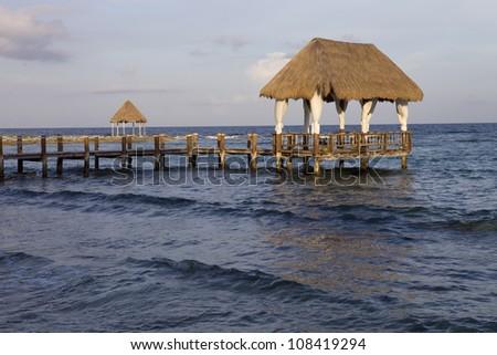 wooden house at the caribbean sea, yucatan, mexico - stock photo