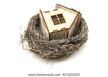 wooden house from natural materials sitting in an empty bird nest isolated on white background, Your house is an investment
