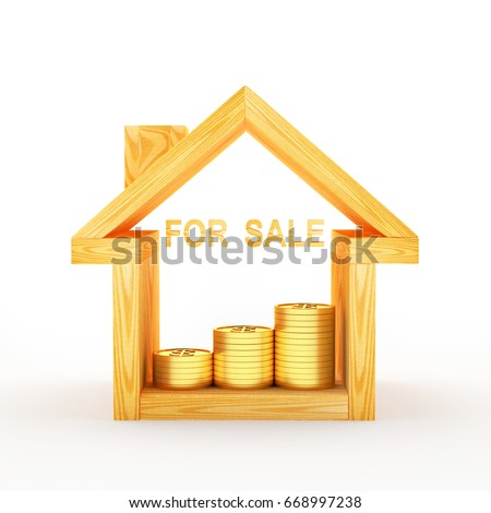 Wooden house icon with coins and word FOR SALE isolated on white background. 3D illustration