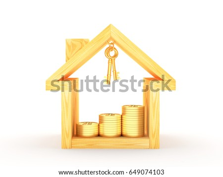 Wooden house icon with keys and graph of golden coins inside isolated on white background. 3D illustration