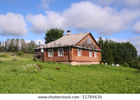wooden house in a village