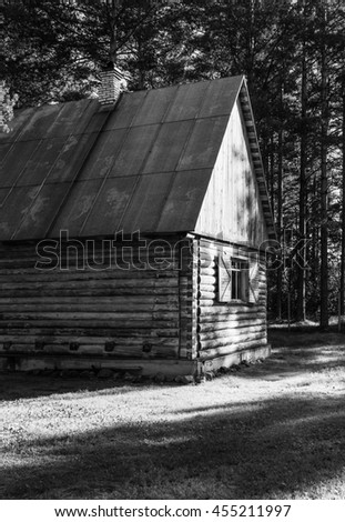 Wooden House in the forest in black and white