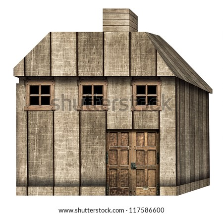 Wooden House Isolated on White - stock photo