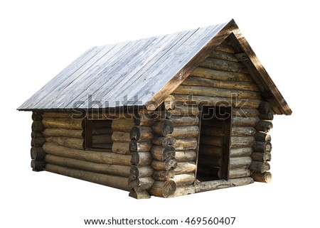wooden house isolated on white