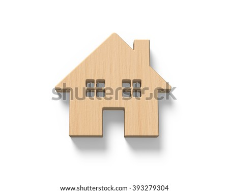 Wooden house, isolated on white background.