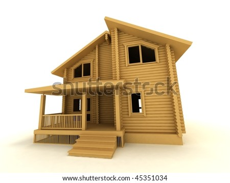 wooden house on a white background