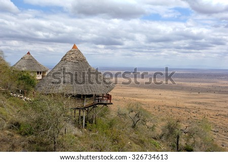 Wooden house on hill, National park of Kenya