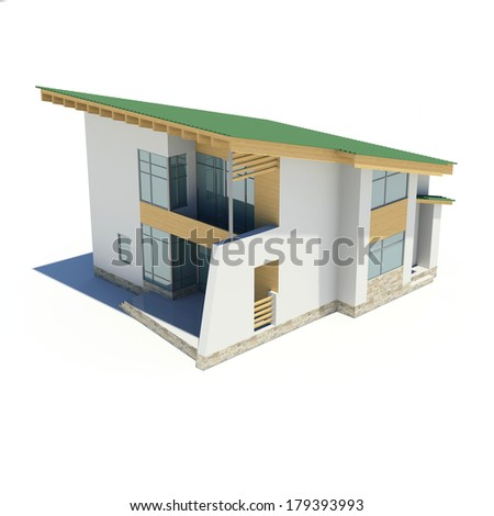 Wooden house with a green roof. Isolated render on a white background