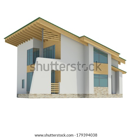 Wooden house with a green roof. Isolated render on a white background - stock photo