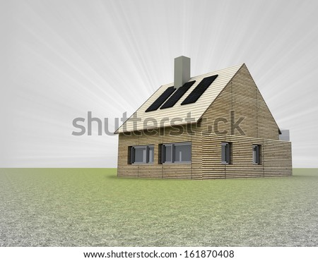 wooden house with several solar panels on the roof and flare illustration - stock photo