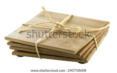 Wooden household coasters isolated on white background with clipping path