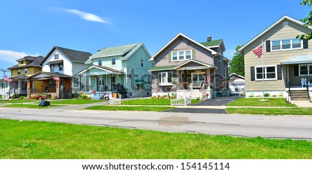 Wooden houses in the industrial suburb of Buffalo, NY, USA