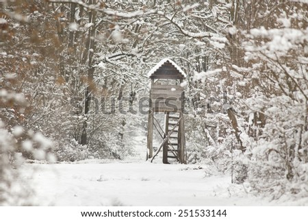 Wooden hunting tower in forest in winter snowy time - stock photo