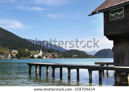 Wooden hut at the pier of Wolfgangsee in Abersee, Salzkammergut, Upper Austria, Austria - stock photo