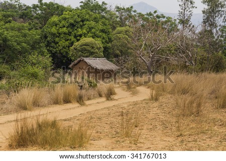 Wooden hut in the countryside