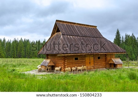 Wooden hut under Tatra mountains in Zakopane, Poland