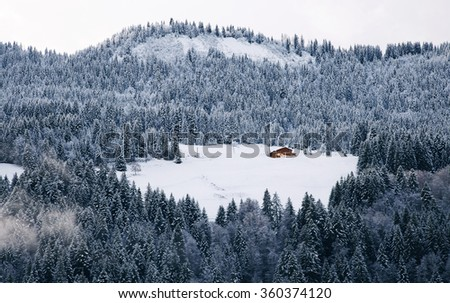 Wooden hut under the snow in the Alps  - stock photo