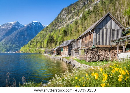 Wooden huts a the lake, Salzkammergut, Austria