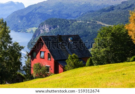 wooden huts in Norway mountains