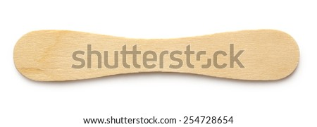 Wooden ice cream stick on white background - stock photo