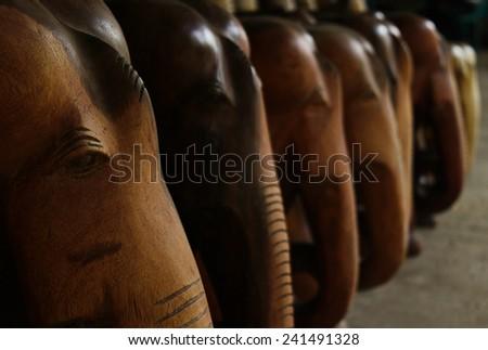 Wooden Indian elephants - stock photo