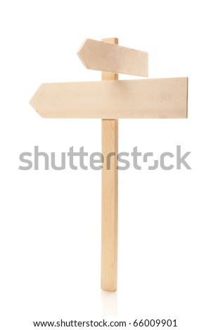Wooden information index isolated on white - stock photo