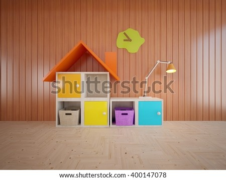 Wooden interior concept of children room with colored furniture - 3d illustration - stock photo