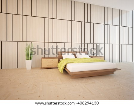 Wooden interior of bedroom with colored furniture - 3d illustration - stock photo