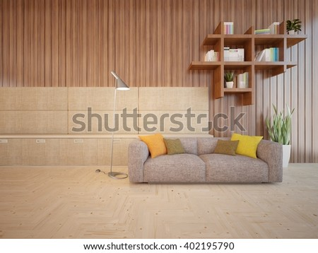 Wooden interior of living room with colored furniture and bookshelf - 3d illustration - stock photo