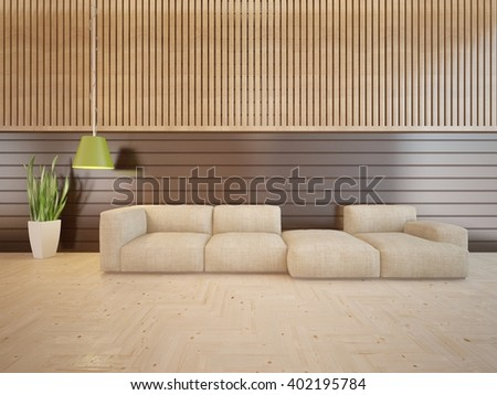 Wooden interior of living room with colored furniture and green lamp - 3d illustration - stock photo