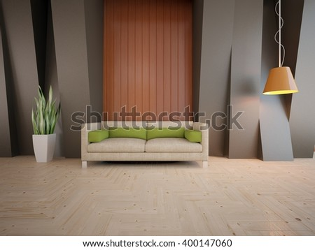 Wooden interior of living room with colored furniture and orange lamp - 3d illustration