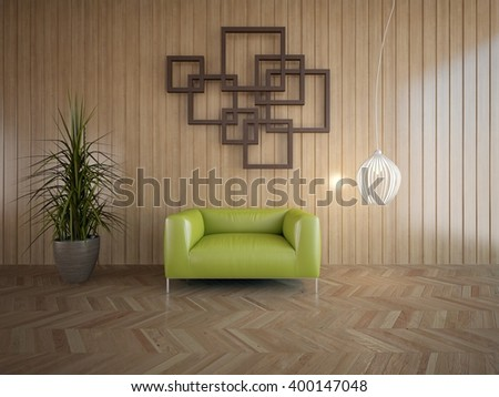 Wooden interior of living room with green armchair - 3d illustration - stock photo