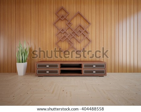 Wooden interior of living room with shelf - 3d illustration - stock photo