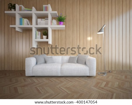 Wooden interior of living room with white sofa - 3d illustration - stock photo