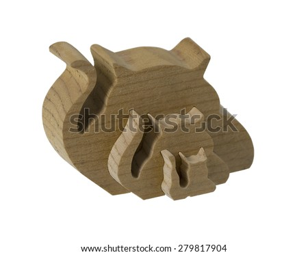 Wooden interlocking wooden cats - path included - stock photo