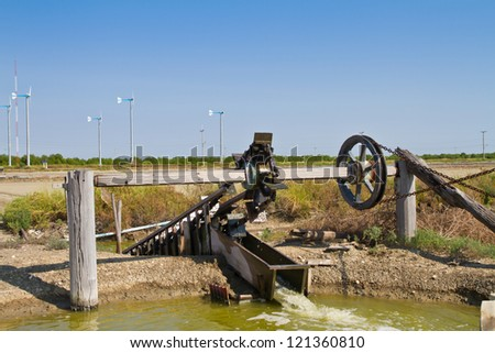 Wooden irrigation tool driven by wind power, Turbine bail, noria - stock photo